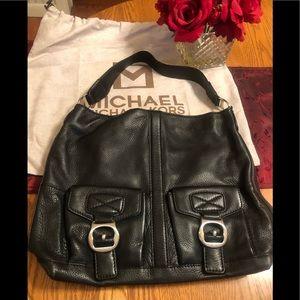 Black leather Michael Kors tote handbag